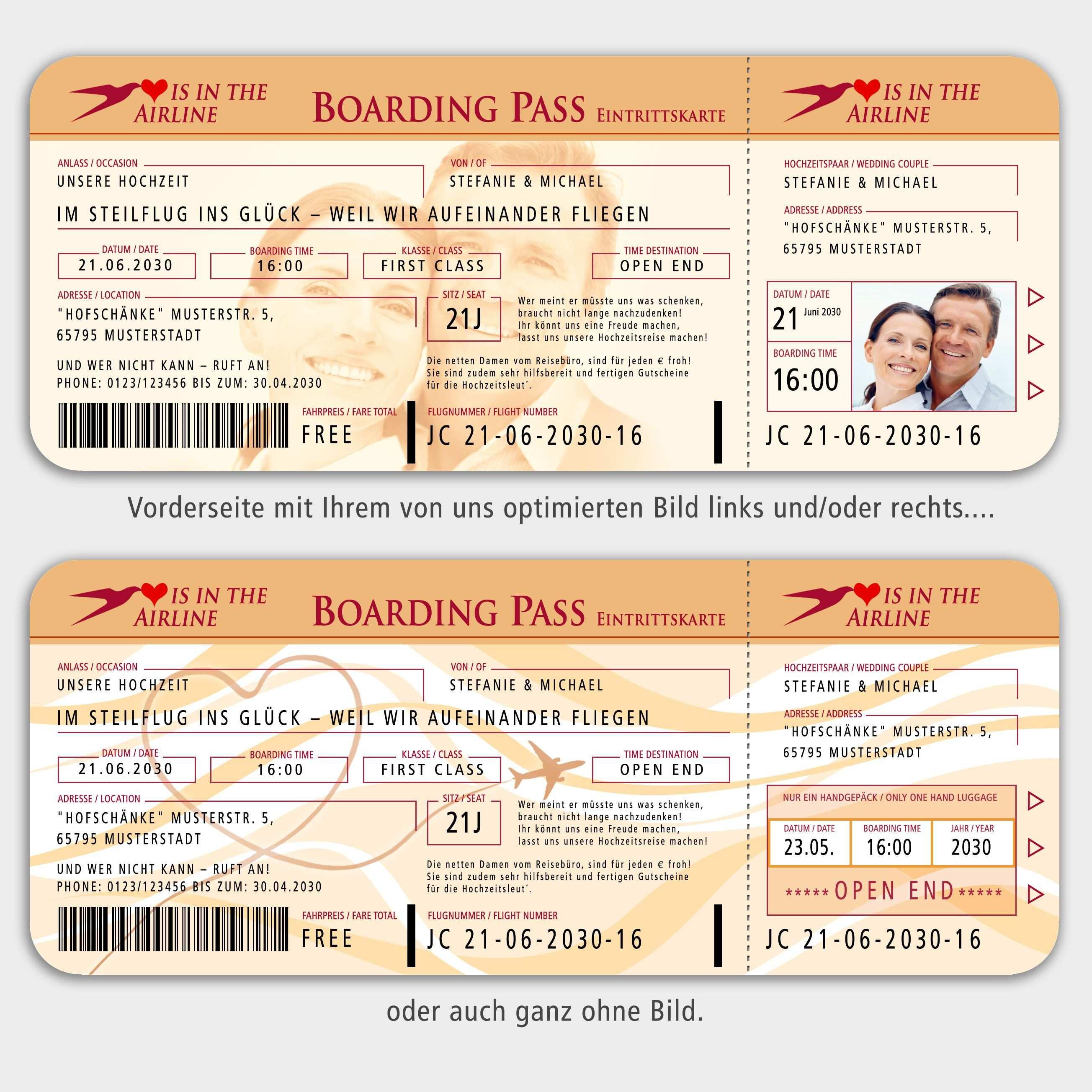 Details Zu Einladungskarten Boarding Pass Flugticket Hochzeit