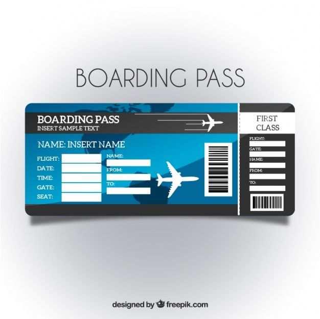 Lade Boarding Pass Vorlage Mit Blauem Hintergrund Kostenlos