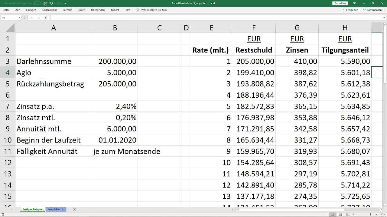 Tilgungsplan Fur Annuitatendarlehen Berechnen Vorlage Excel