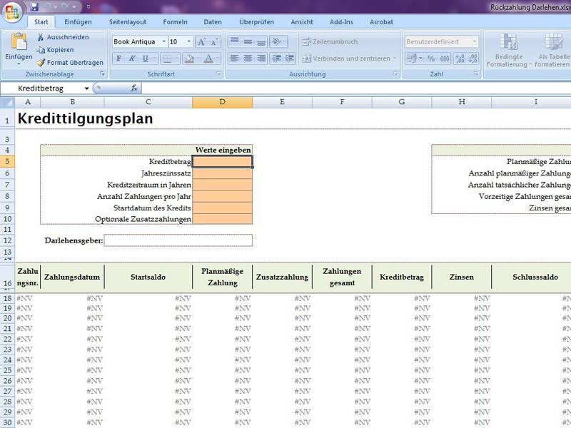 Kredittilgungsplan Excelvorlage De
