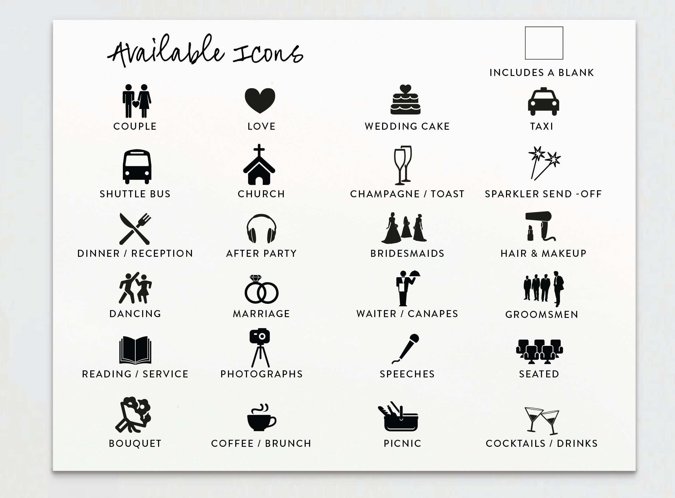 Wedding Timeline Wedding Schedule With Icons Studio Nellcote