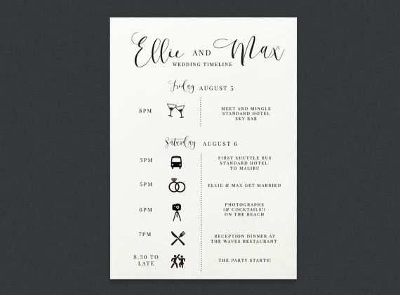 Druckbare Hochzeit Zeremonie Timeline Scedule Wedding Reception