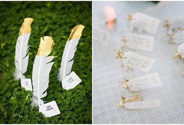 Feder Originelle Tischkarten Goldene Hochzeit Drucken Table Card