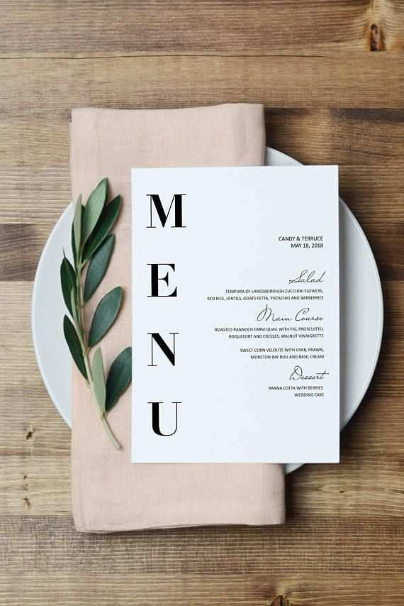 Wedding Menu Template Modern Menu Cards Template Minimal Menu
