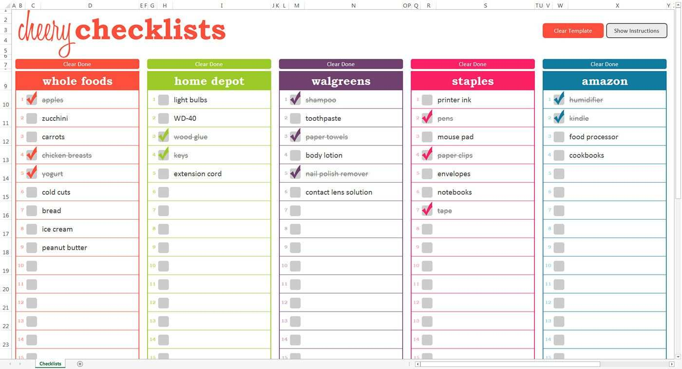 Cheery Checklists Excel Template Printable Checkable To Do