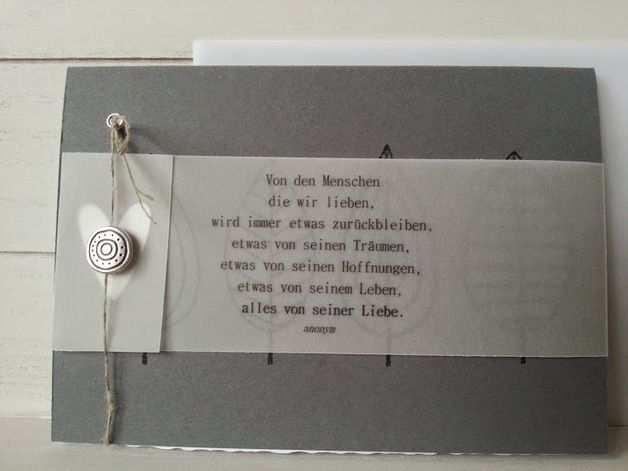 Trauerkarte Mit Text Und Ausgestanztem Herzle Aufgehubscht Mit