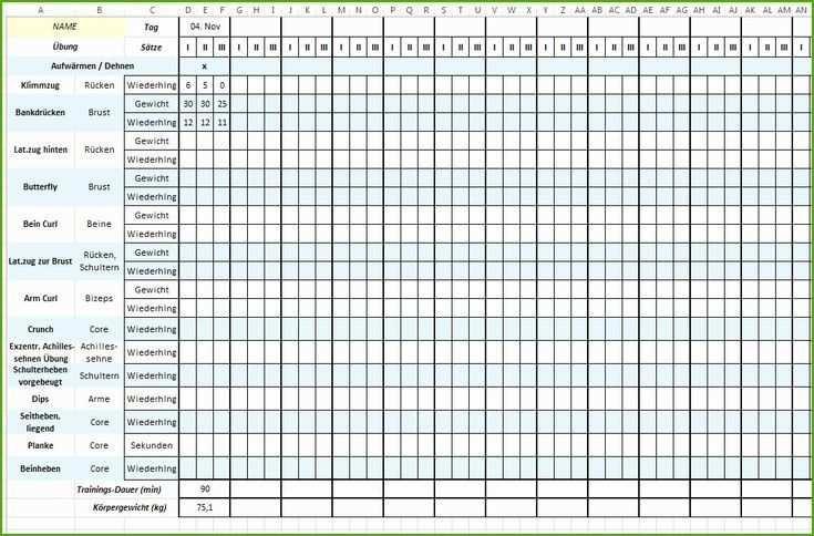 Trainingsplan Vorlage Excel Hubscher Trainingsplan Vorlage