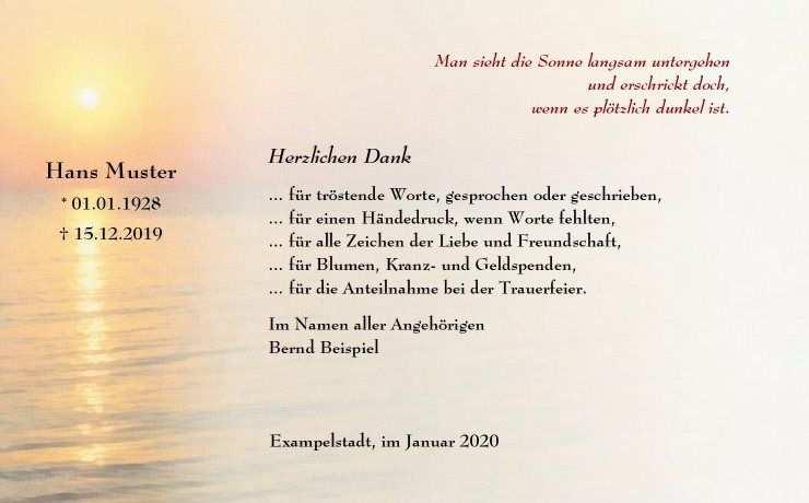 Dankeskarte Beerdigung Sonnenuntergang Trauer In 2020
