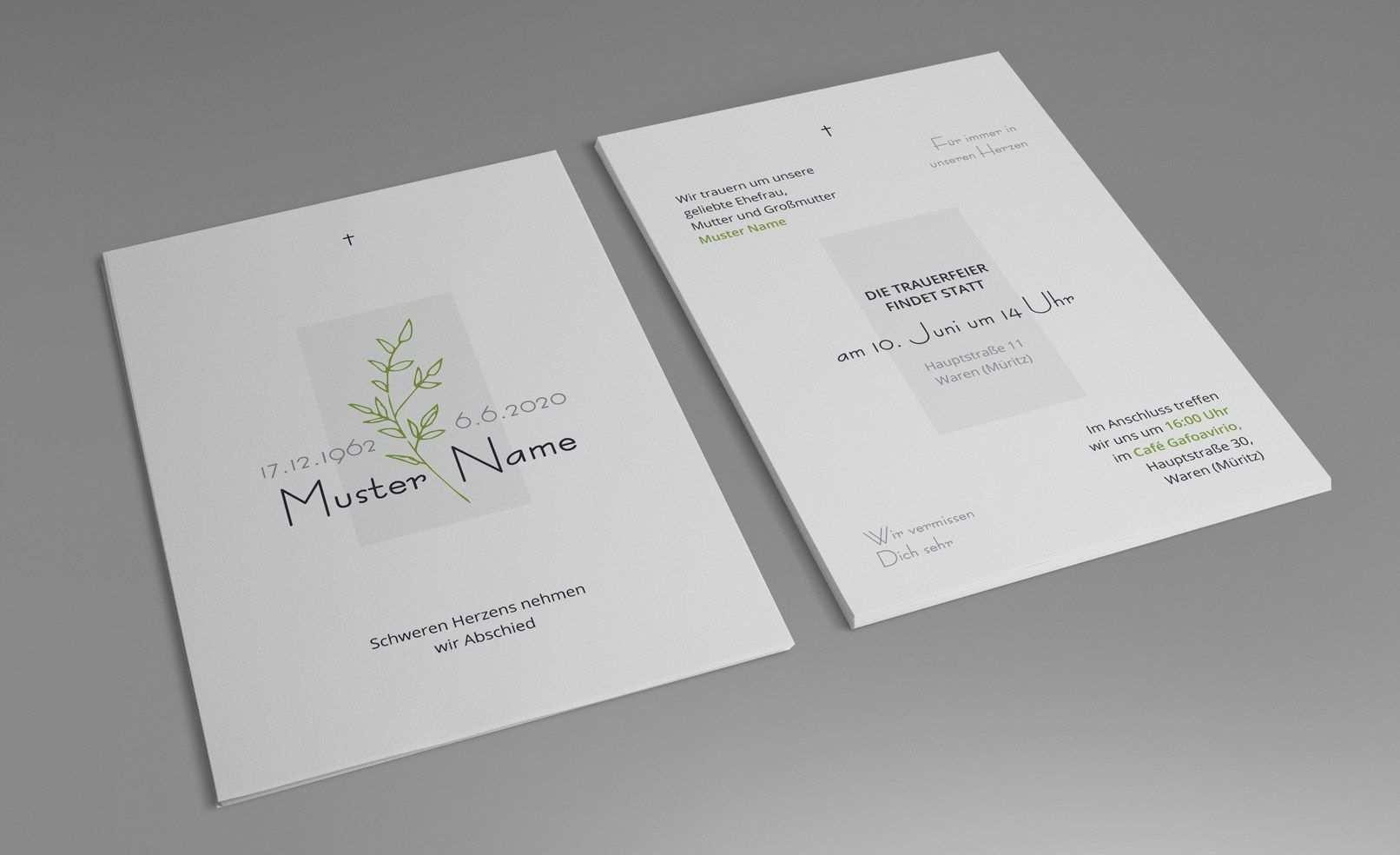 Trauerkarten Vorlagen Fur Einladungen Zu Beerdigung Und
