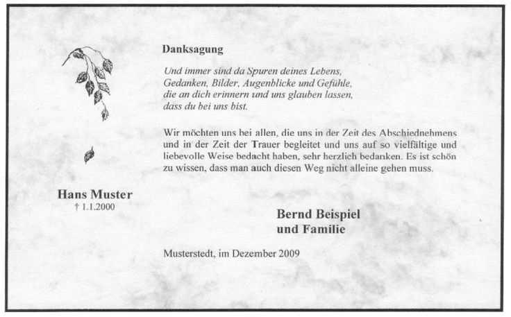 Danksagungskarte Marmoriert Fallendes Blatt Trauer Blatt