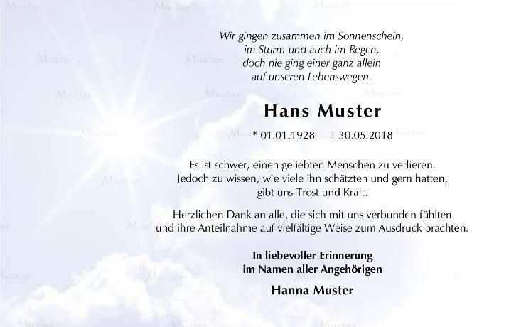 Sonne Im Himmel Trauerkarte Danksagung Text Trauer
