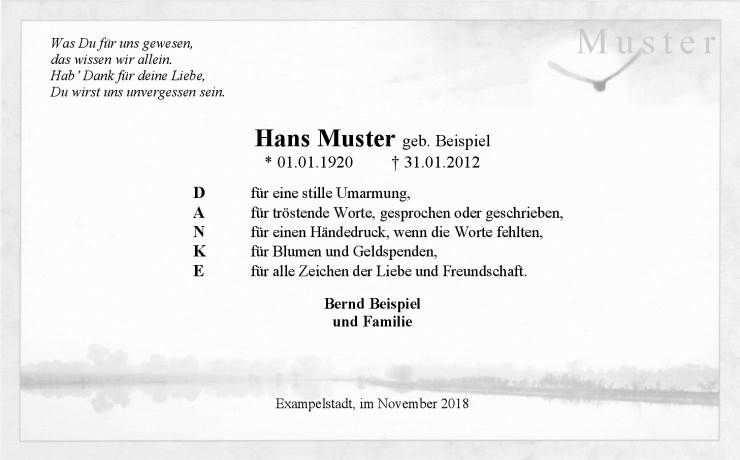 Trauer Danksagungskarte Vogel Am Fluss Danke Sagen Danksagung