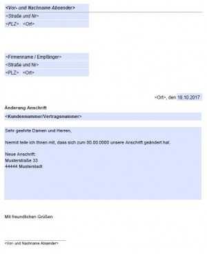 Anderung Der Anschrift Adresse Kostenlose Vordrucke De