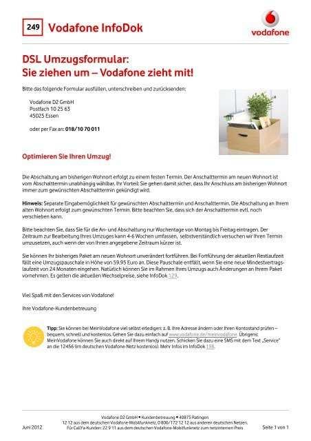 Infodok 249 Dsl Umzugsformular Sie Ziehen Um Vodafone Zieht