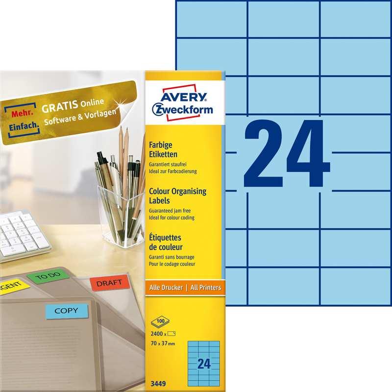 Avery Zweckform Universal Etiketten 70 X 37 Mm Blau 3449 Bei Www