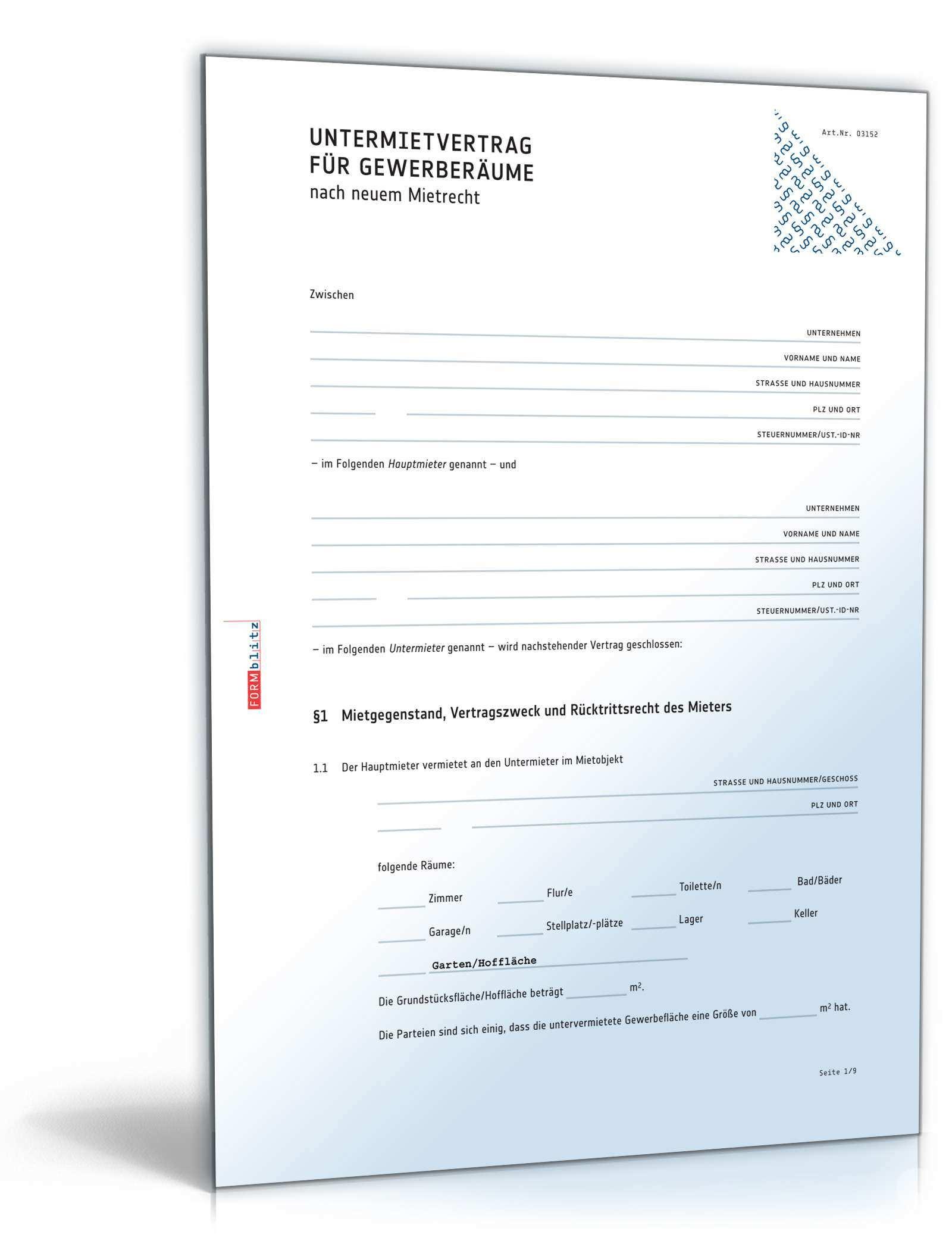 Untermietvertrag Gewerberaume Rechtssicheres Muster Zum Download