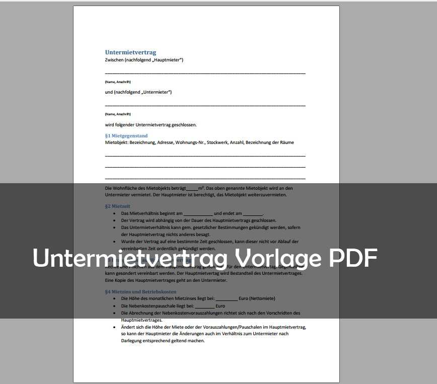 Untermietvertrag Muster Vorlage Pdf Download