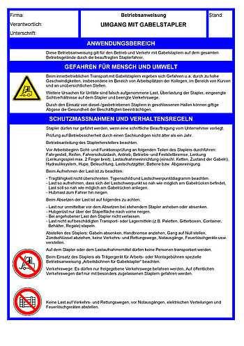 Betriebsanweisungen Fur Arbeitsmittel Gabelstapler Bg Bau