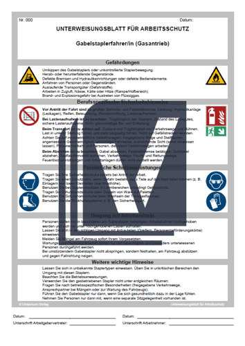 Unterweisungsprasentation Gabelstaplerfahrer In Vorlage Zum Download