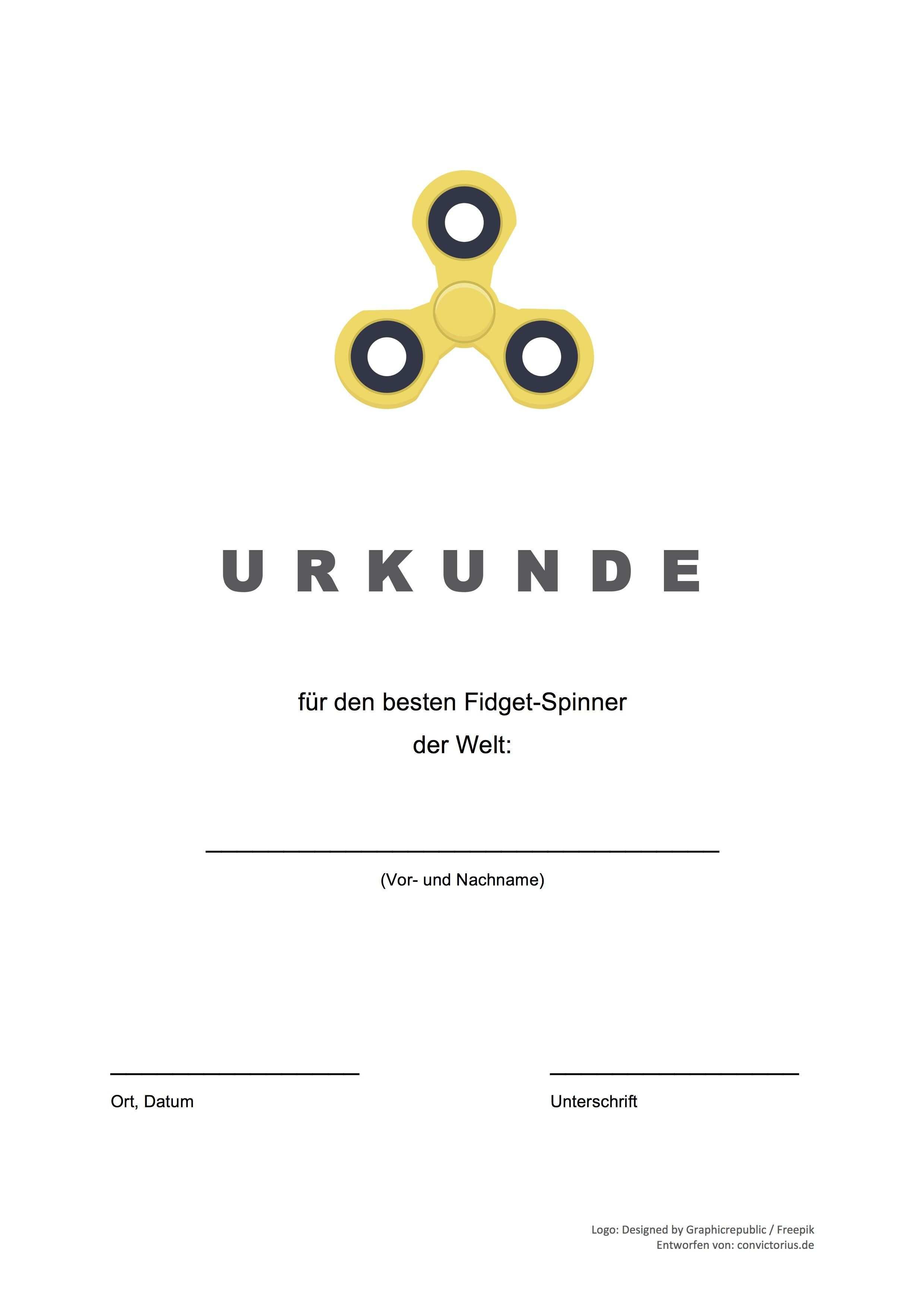 Gratis Vorlage Fidget Spinner Urkunde Word Pdf Vorlage