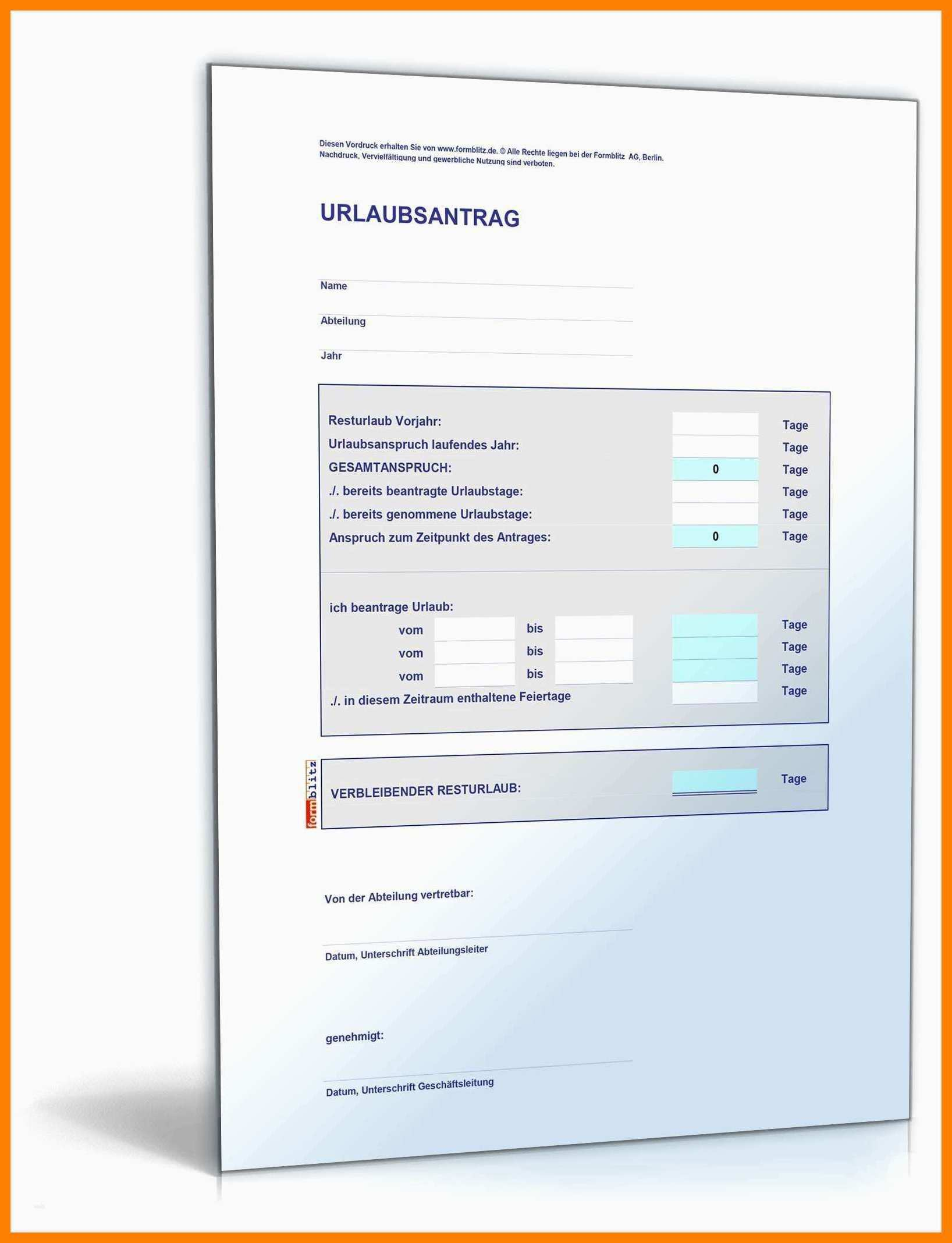 Urlaubsantrag Vorlage Kostenlos Excel لم يسبق له مثيل الصور