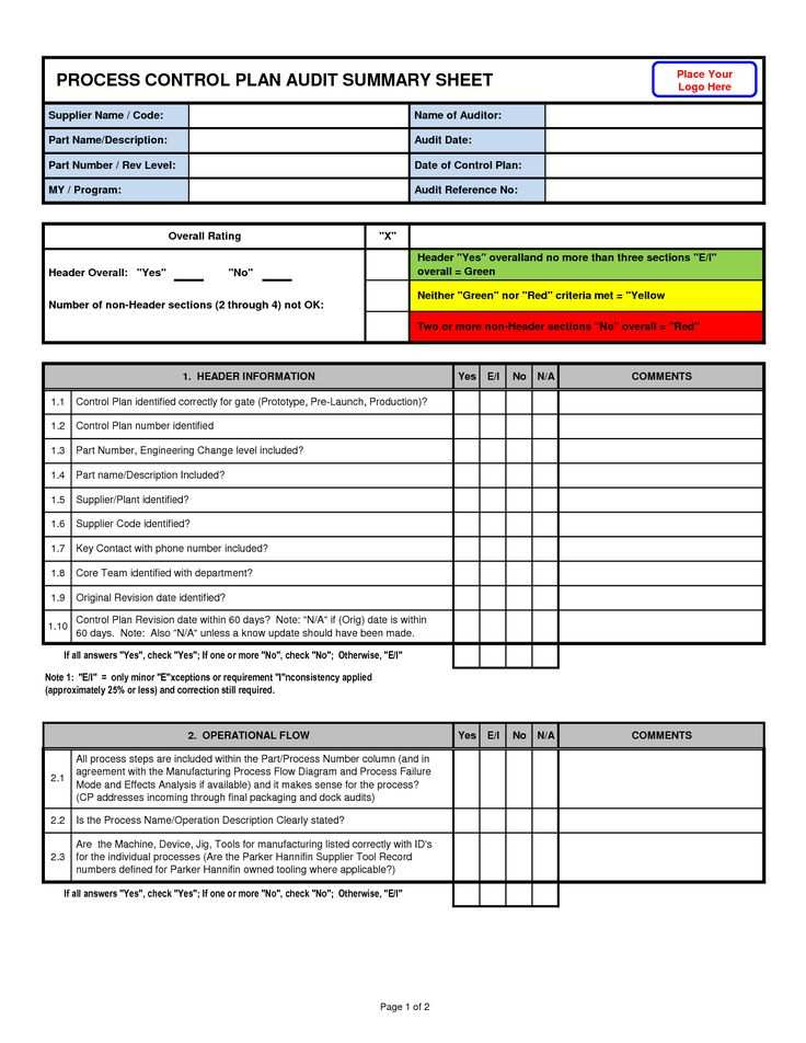Awesome Process Control Plan Audit Summary Sheet Template With