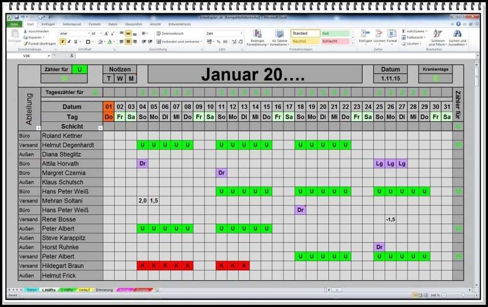 Excel Urlaubsplaner 2018 2019 U S W Urlaubskalender