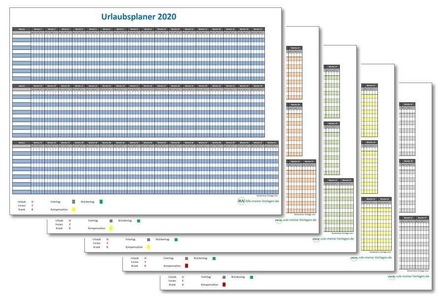 Einfacher Urlaubsplaner 2020 Einfacher Ferienplaner 2020 Ferien Urlaub Planer