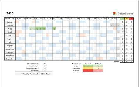 Kostenlose Excel Urlaubsplaner Vorlagen 2020 Lernen Wissen Ist