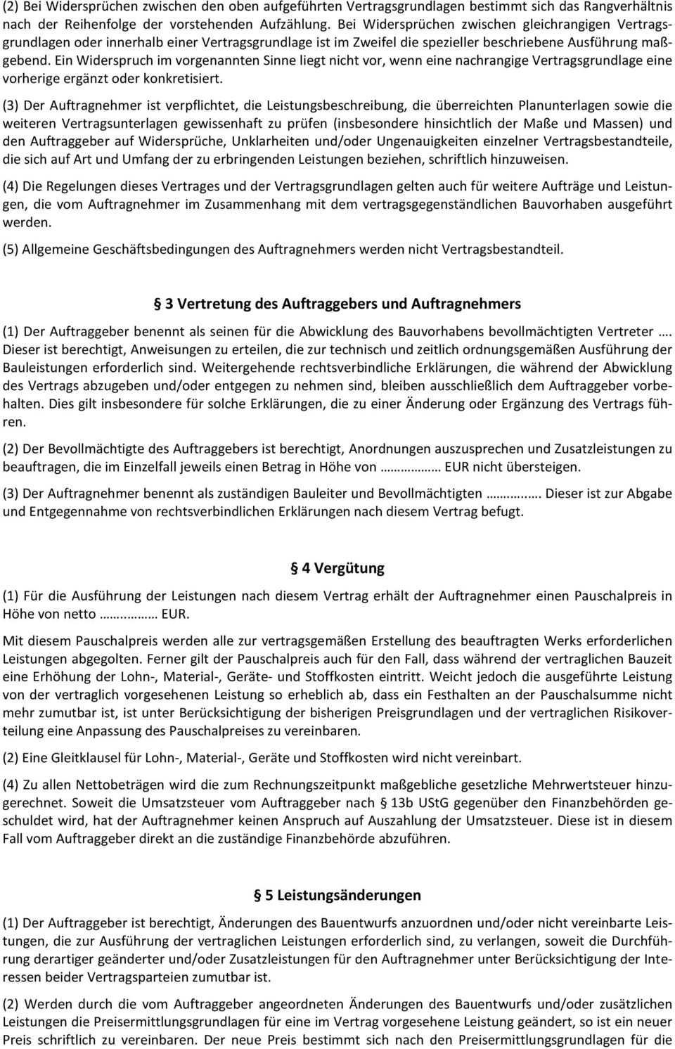 Mustervertrag Bauvertrag Gem Bgb Pauschalpreis Pdf Kostenfreier
