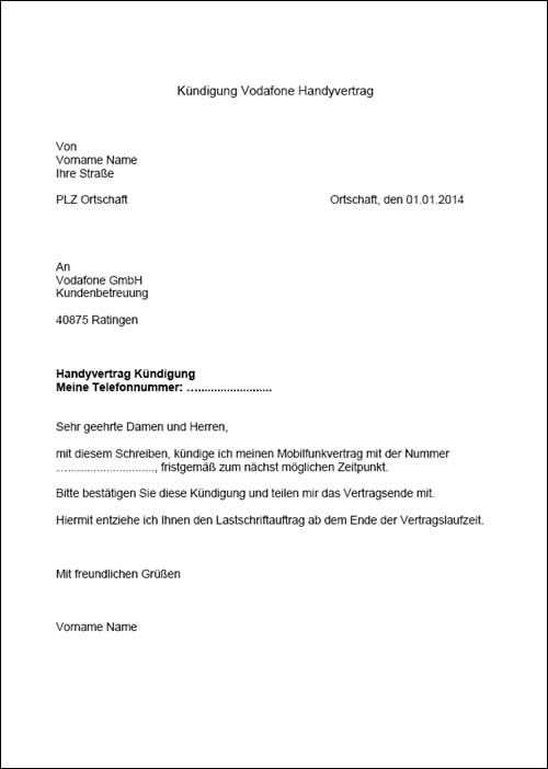 Ein Kundigungsschreiben Fur Einen Vodafone Vertrag Die Vorlage