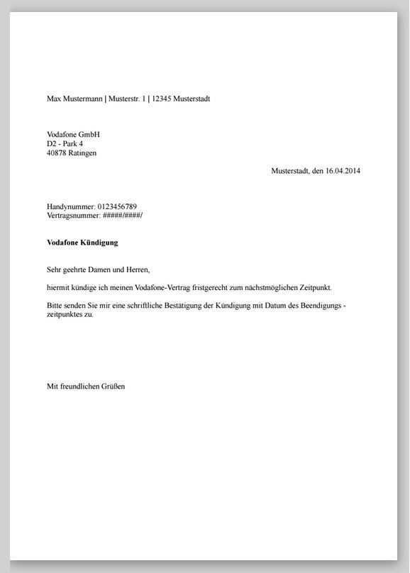 Kundigung Vertrag Vorlage Kundigung Schreiben Kundigung