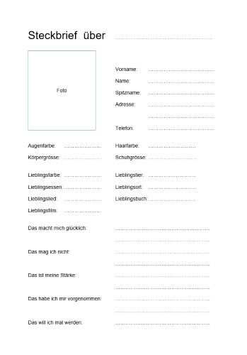 Steckbrief Vorlage Steckbrief Schreiben Steckbrief Muster