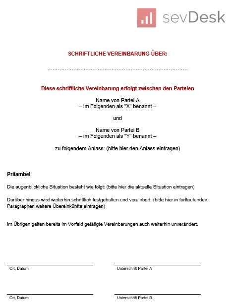 Schriftliche Vereinbarung Vorlage Kostenloser Word Download
