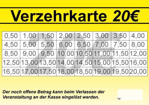 Abstreichkarte 20 Eur Mit Vorlagen Verzehrkarte 24