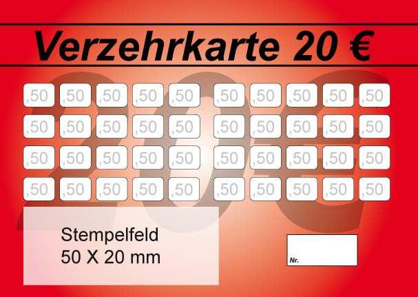 Verzehrkarte 20 Eur Stempelfeld Verzehrkarte 24