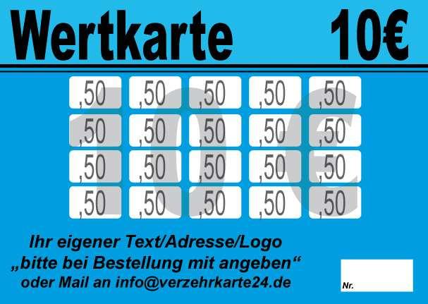 Wertkarte 10 Eur Mit Vorlagen Verzehrkarten Shop