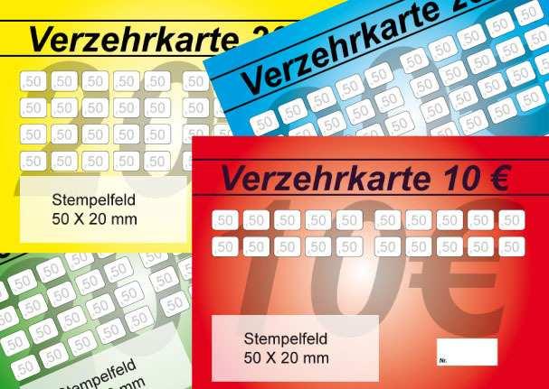 Verzehrkarten Mit Stempelfeld