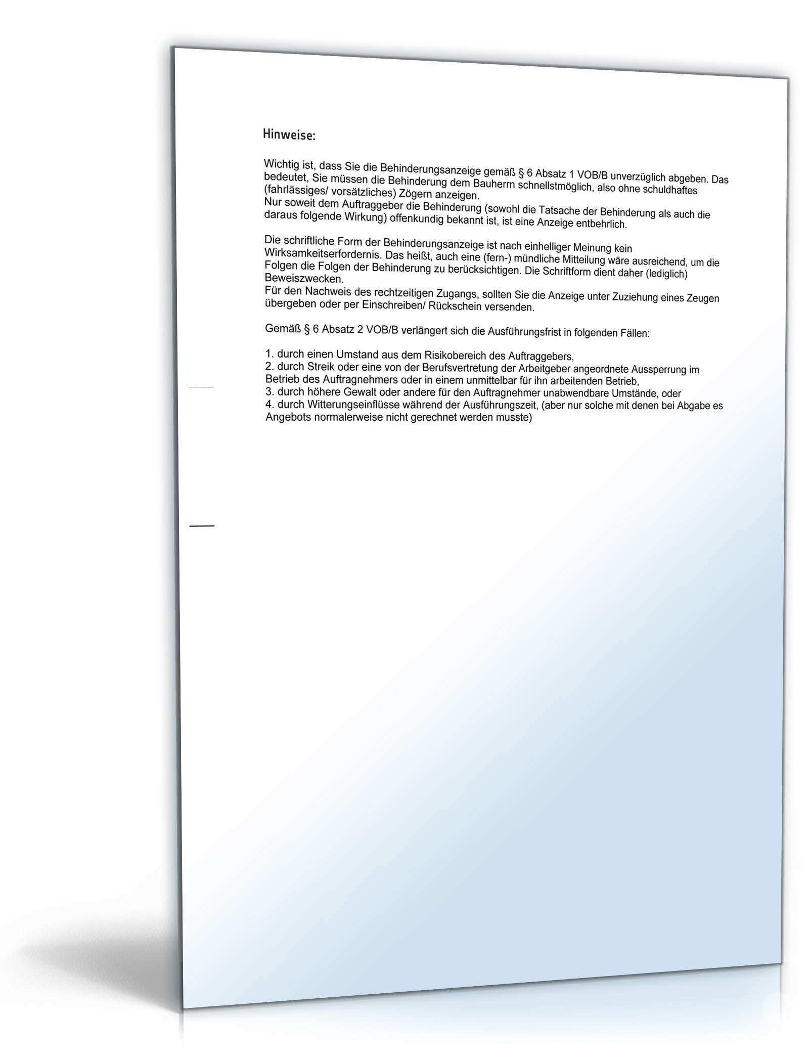 Baubehinderungsanzeige Mit Fristverlangerung Muster Vorlage Zum