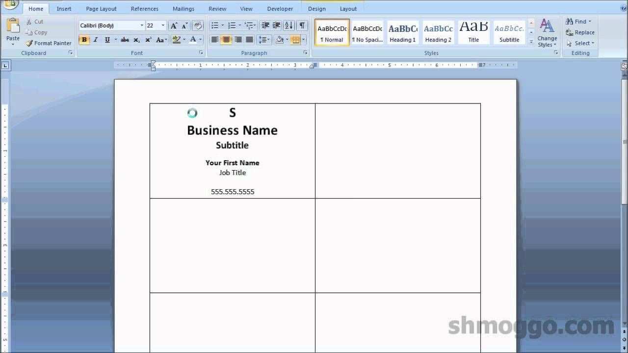 Printing Business Cards In Word Video Tutorial Printing
