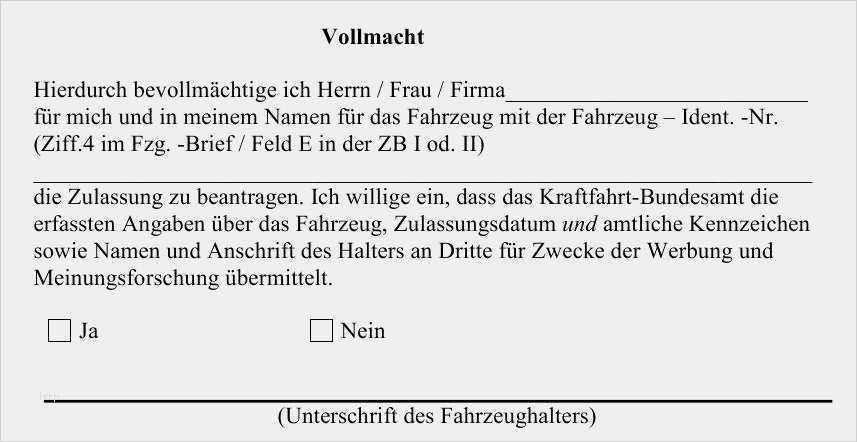 27 Inspiration Vollmacht Fur Die Kfz Zulassung Zur Vorlage Bei Der