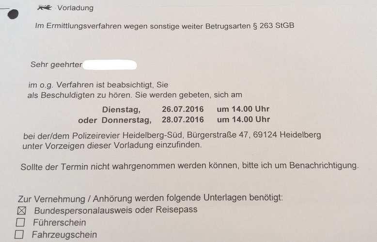 Vorladung Polizei Mannheim Fachanwalt Strafrecht Mannheim