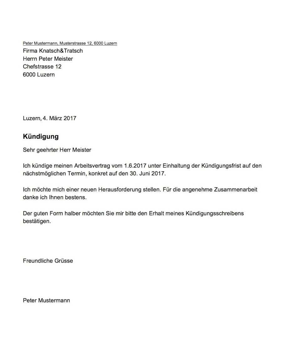 Kundigung Vorlage Arbeitsvertrag Schweiz Kundigung Schreiben