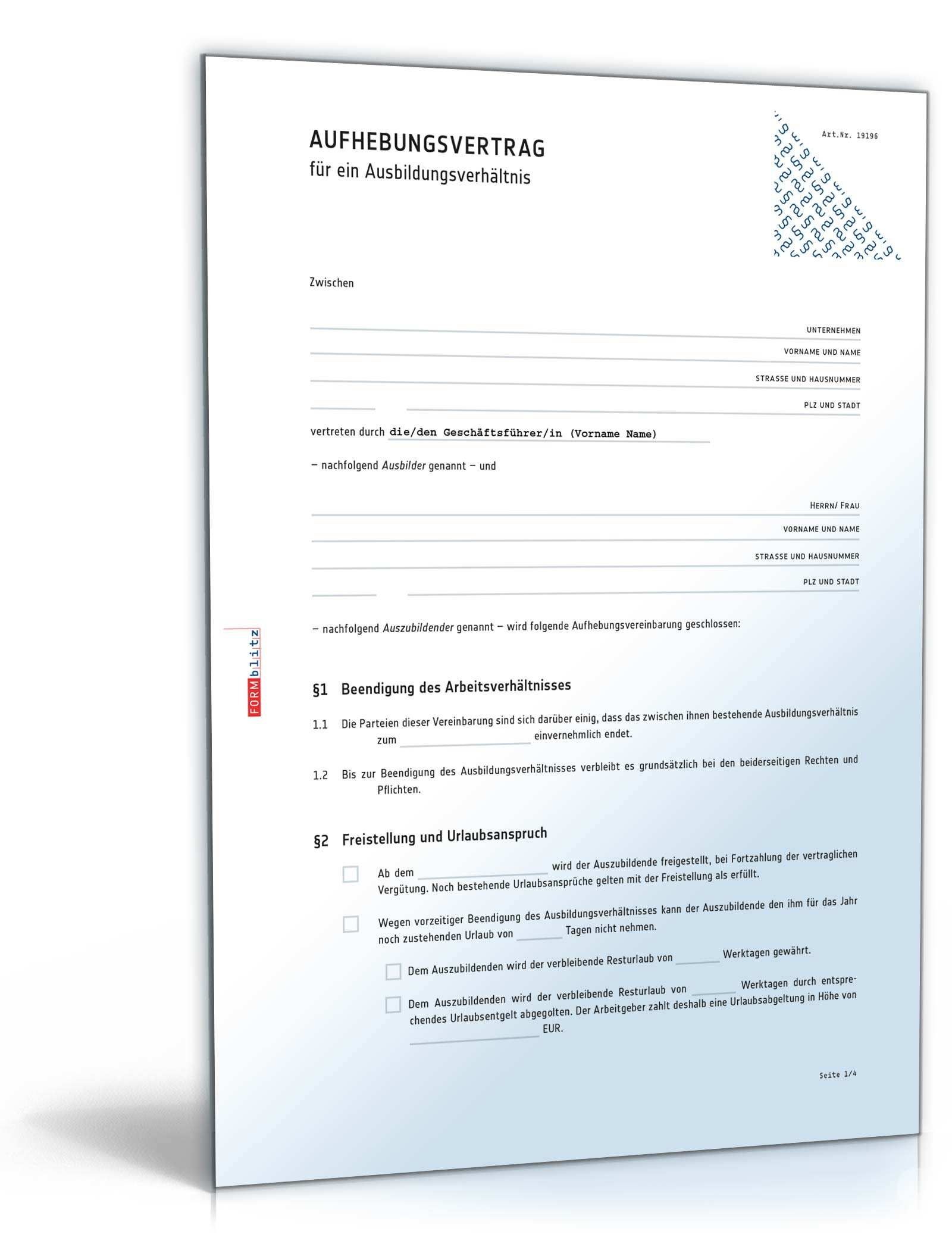 Aufhebungsvertrag Ausbildungsverhaltnis Muster Zum Download