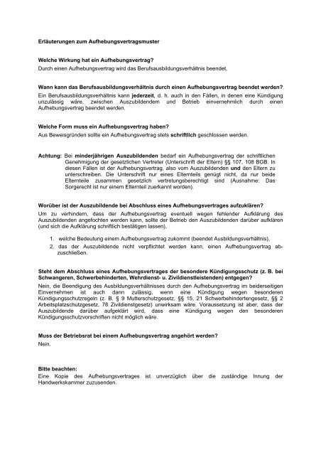 Muster Fur Einen Aufhebungsvertrag Handwerkskammer Hamburg