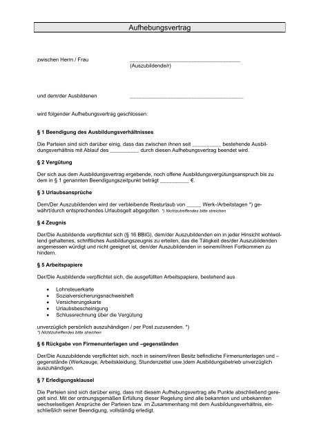 Aufhebungsvertrag Ausbildungsverhaltnis
