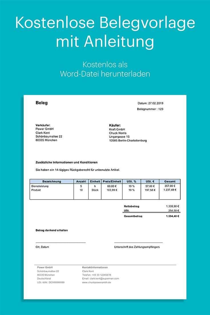 Beleg Vorlage Kostenlos In Word Mit Anleitung Excel Tipps