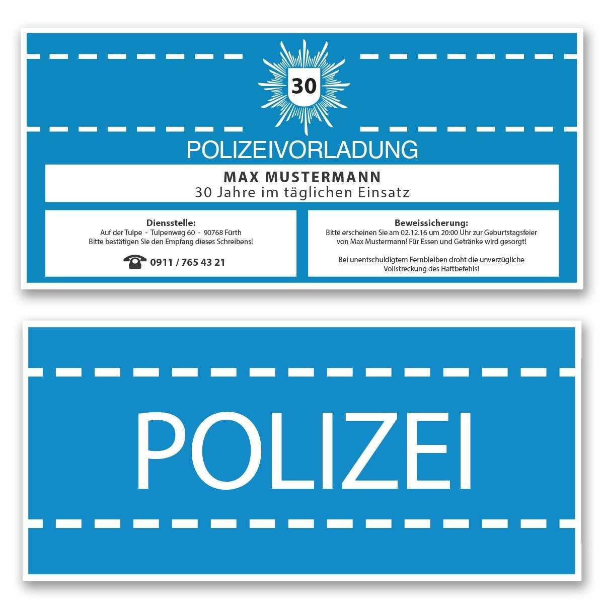 Einladungskarten Zum Geburtstag Als Polizeivorladung Polizei