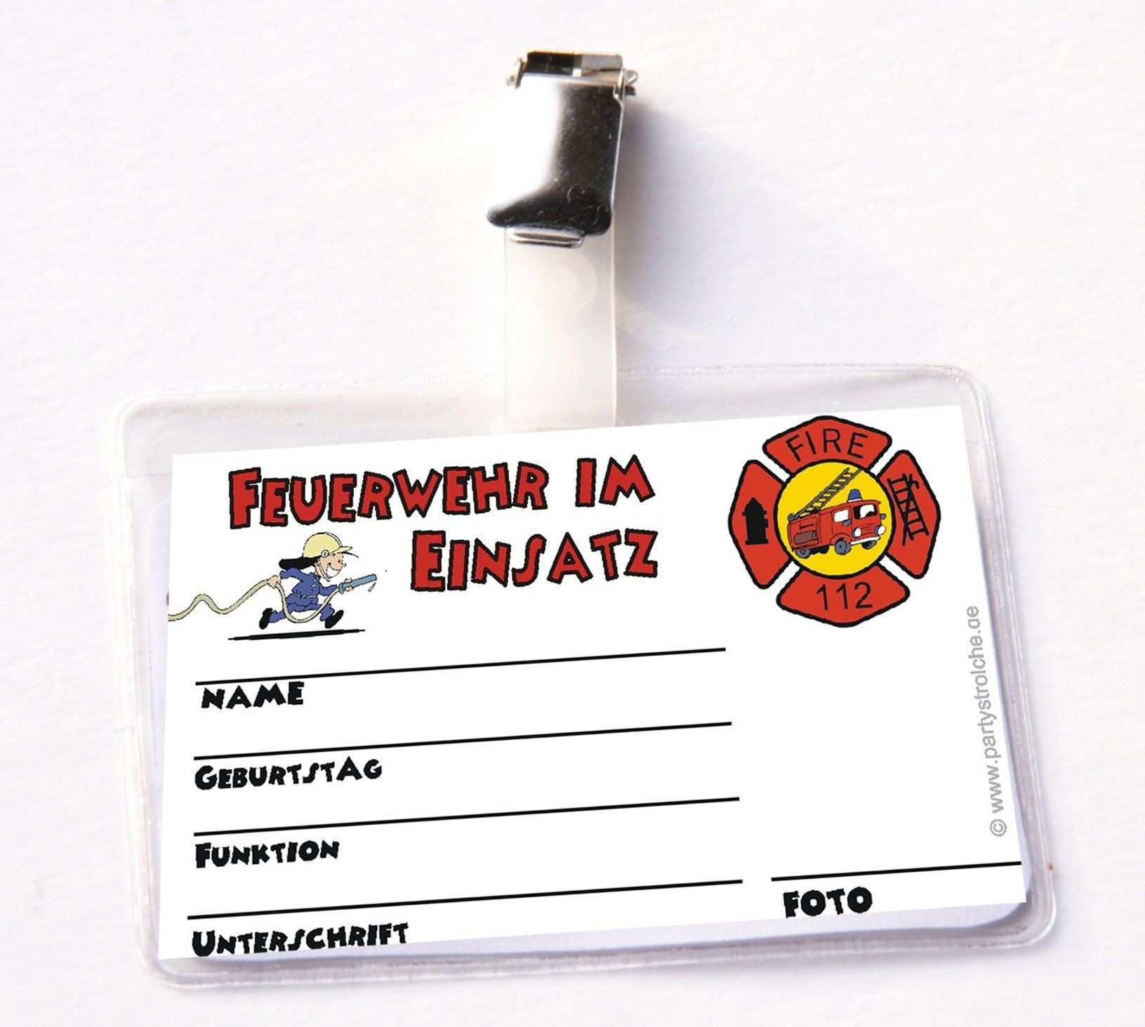 Feuerwehr Ausweis Fur Feuerwehrmann Flo Mit Clip Und Hulle