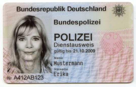 Bundespolizei Dienstausweise Der Bundespolizei
